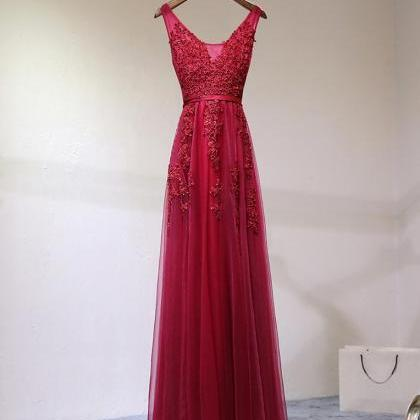 A Line Burgundy Lace Prom Dress, Bu..