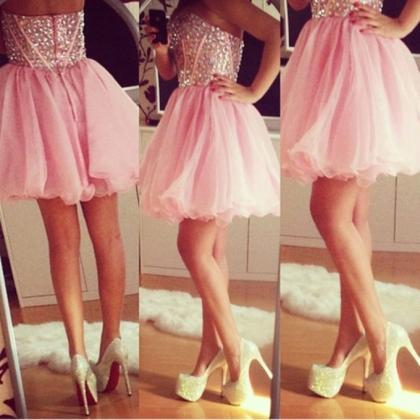 Custom Made A Line Short Pink Prom ..