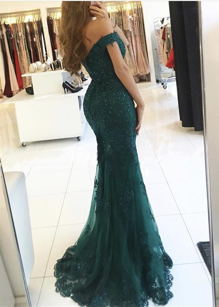 Emerald Green Off Shoulder Lace Prom Dress, Emerald Green Green ...