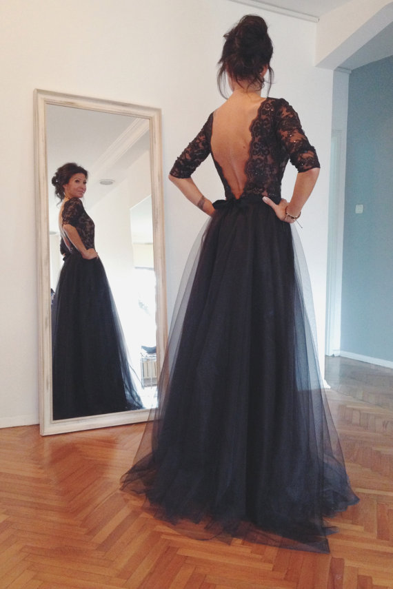 Custom Made Black V Neck Back Backless Long Lace Prom Dresses 2015 ...