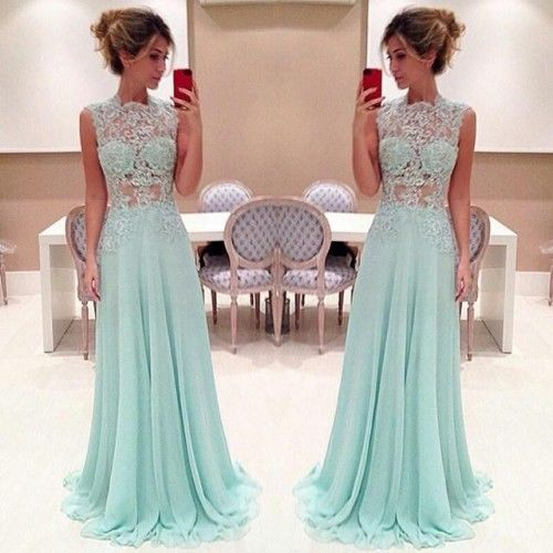 Custom Made A Line High Neck Lace Prom Dresses 2015, Long Lace ...