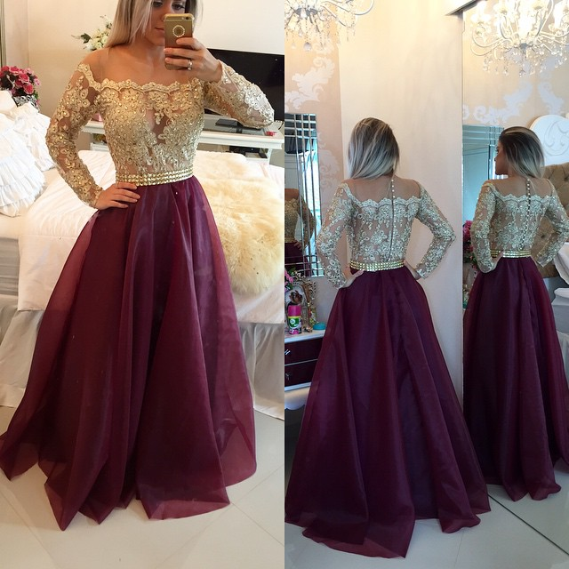 A Line Long Sleeves Maroon Prom Dress With Golden Top Maroon And