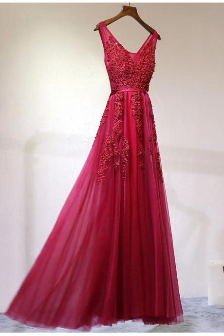 A Line Burgundy Lace Prom Dress, Burgundy Formal Dress, Burgundy Lace Bridesmaid Dress, Lace Graduation Dress, Burgundy Evening Dress