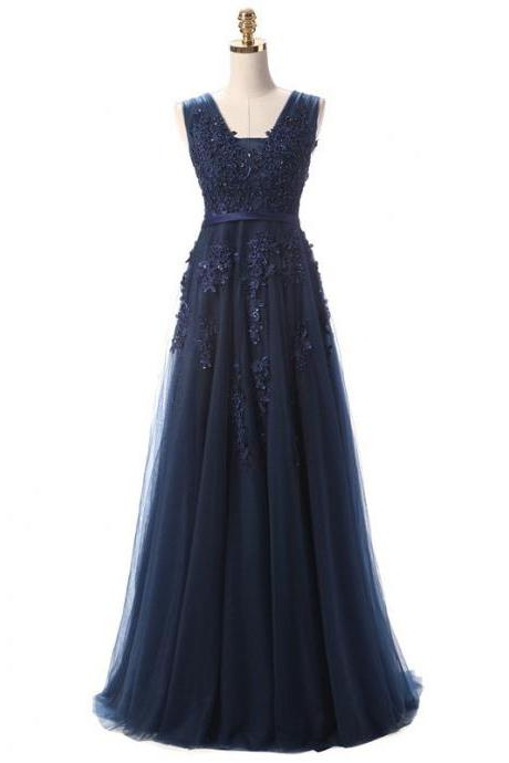 A Line Navy Blue Lace Prom Dress, Lace Graduation Dress, Navy Blue Formal Dress, Navy Blue Evening Dress, Party Dress