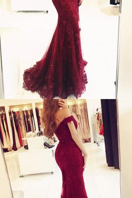 Off Shoulder Burgundy Lace Mermaid Prom Dress, Burgundy Lace Bridesmaid Dress, Lace Formal Dress, Burgundy Mermaid Evening Dress