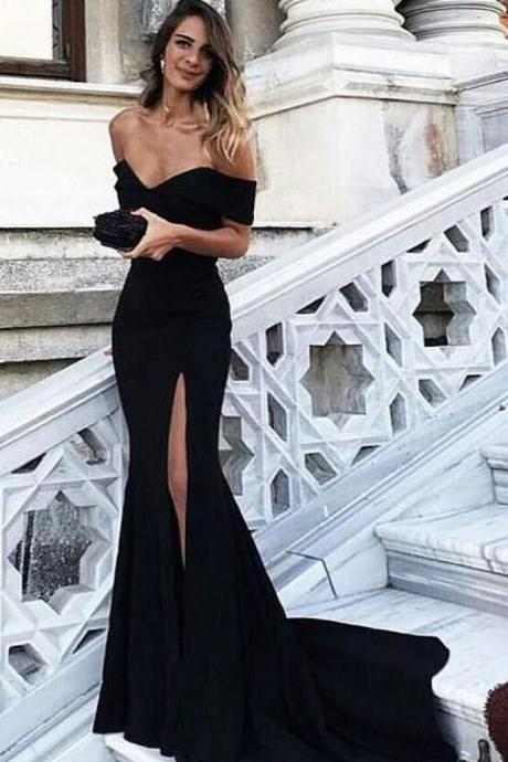 Off Shoulder Black Mermaid Prom Dress with Leg Slit, Black Mermaid Formal Dress, Black Mermaid Evening Dress
