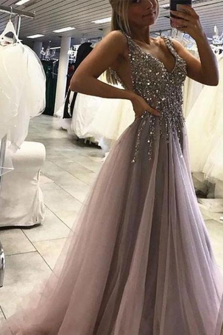 A Line V Neck Backless Prom Dress with Sequins, V Neck Backless Formal Dress, Backless Evening Dress