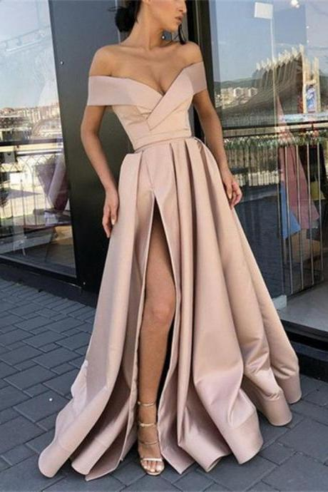 Custom Made Off Shoulder Champagne High Slit Prom Dresses, Off Shoulder Formal Dresses, Graduation Dresses