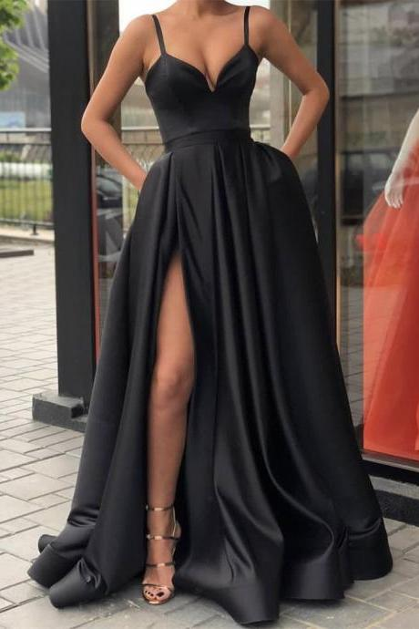 Custom Made A Line Black Spaghetti Straps Prom Dress with High Slit, Ball Dresses, Formal Graduation Dresses