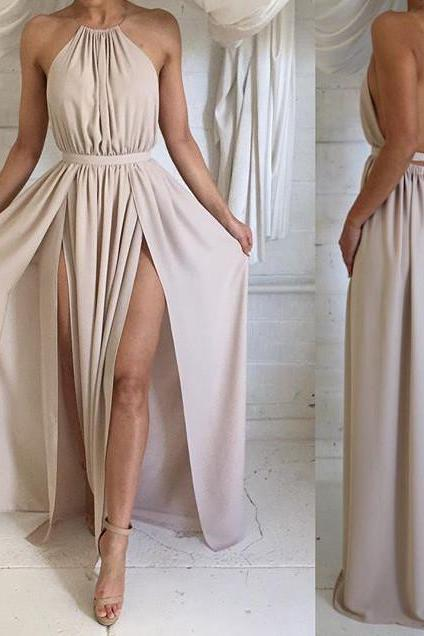 Custom Made A Line High Neck Long Prom Dress, Long Formal Dress, Bridesmaid Dress
