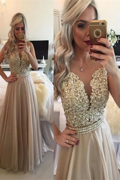 A Line Round Neck Sleeveless Long Champagne Prom Dress, Champagne Formal Dress