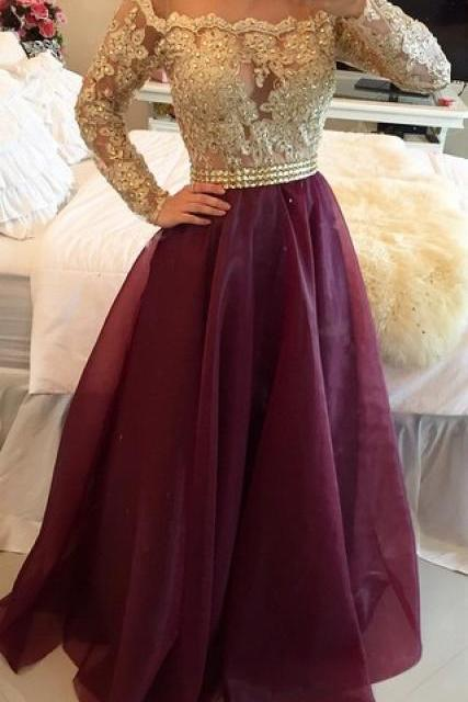 A Line Long Sleeves Maroon Prom Dress with Golden Top, Maroon And Golden Formal Dress
