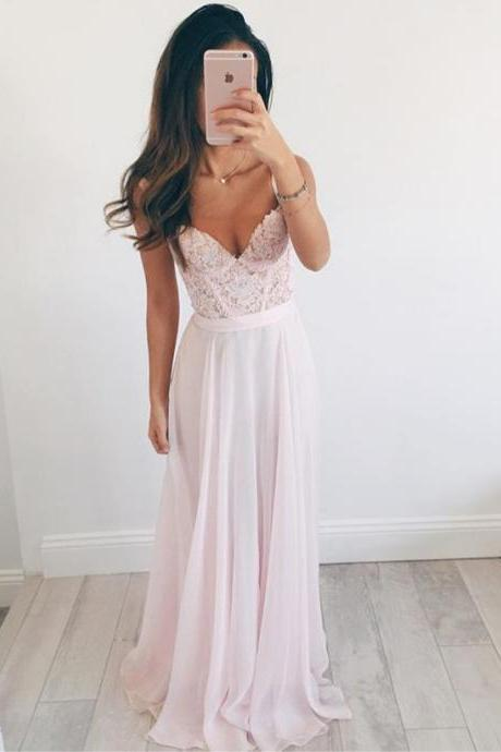 A Line Sweetheart Neck Light Pink Long Lace Prom Dress, Light Pink Lace Formal Dress, Bridesmaid Dress