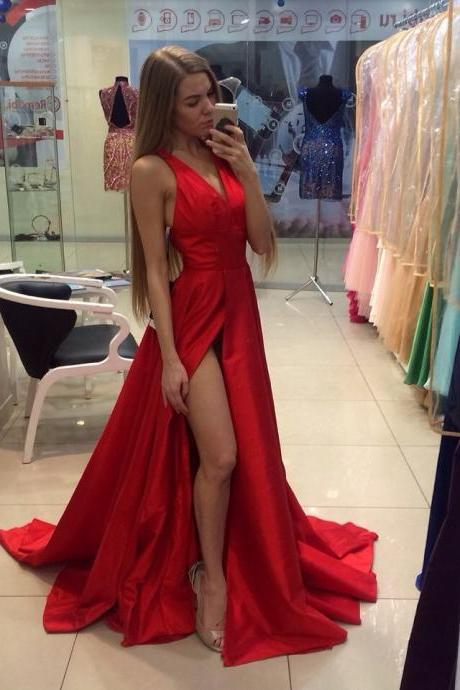 Red A Line V Neck Sweep Train Prom Dress with Slit, Red V Neck Formal Dresses