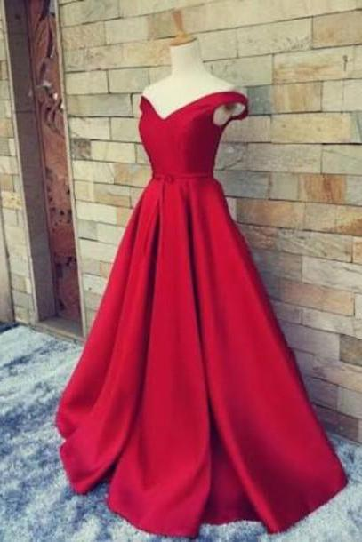 Red Off Shoulder Long Prom Gown, Red Prom Dresses, Long Red Formal Dresses