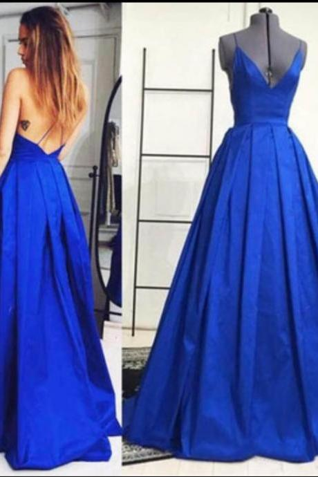 A Line V Neck Backless Long Blue Prom Dress, Formal Dresses