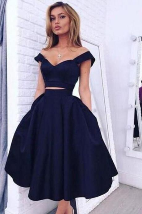 Custom Made Off Shoulder Short Navy Blue Prom Dresses, Short Navy Blue Graduation Dresses, Homecoming Dresses