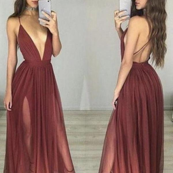 V Neck Backless Maroon/Burgundy Prom Dress, Maroon Formal Dress, Backless Graduation Dress, Burgundy Evening Dresses