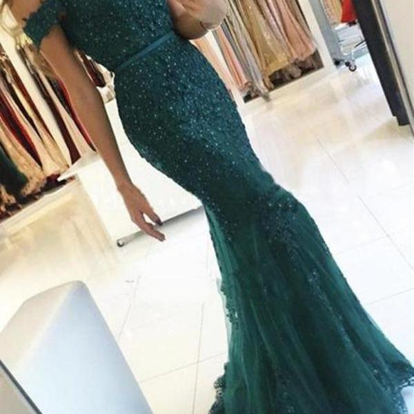 Emerald Green Off Shoulder Lace Prom Dress, Emerald Green Green Formal Dress, Lace Bridesmaid Dress, Green Lace Evening dress