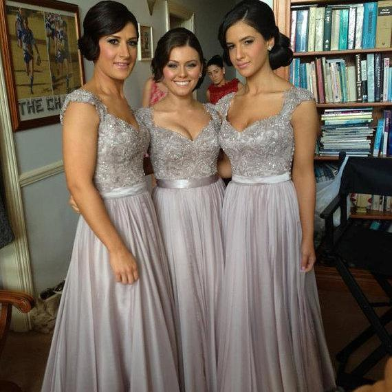 Grey Long Prom Dresses, Grey Bridesmaid Dresses, Wedding Party Dresses, Grey Prom Dresses, Formal Dresses
