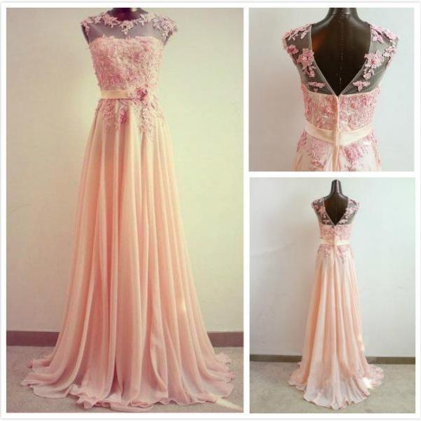 A-line Round Neckline Sweep Train Lace Prom Dress, Formal Dresses, light coral long prom dresses, Evening Dresses
