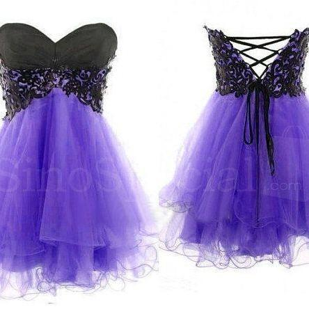 Lace Ball Gown Sweetheart Mini Prom Dress/Homecoming Dress/Graduation Dress/Formal Dress
