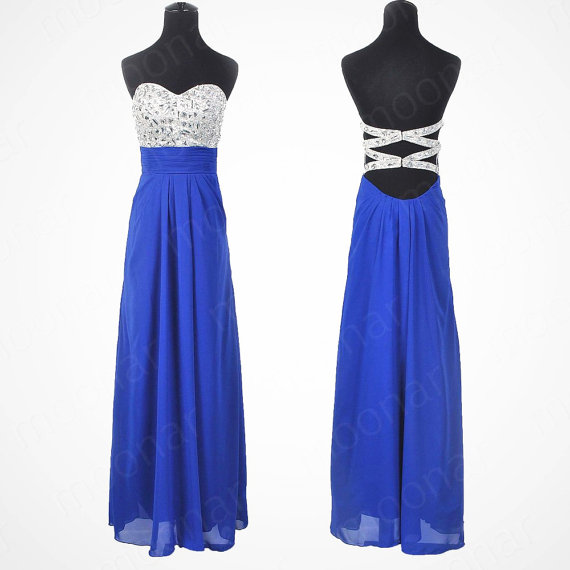Custom Made A line Backless Blue Prom Dresses, Red Prom Dresses, Dresses for Prom, Backless Prom Dresses, Graduation Dresses