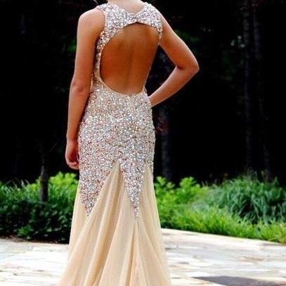 Custom Made Nude/ Champagne Mermaid Open Back Prom Dresses, Dresses for Prom, Mermaid Evening Dresses, Formal Dresses 2015