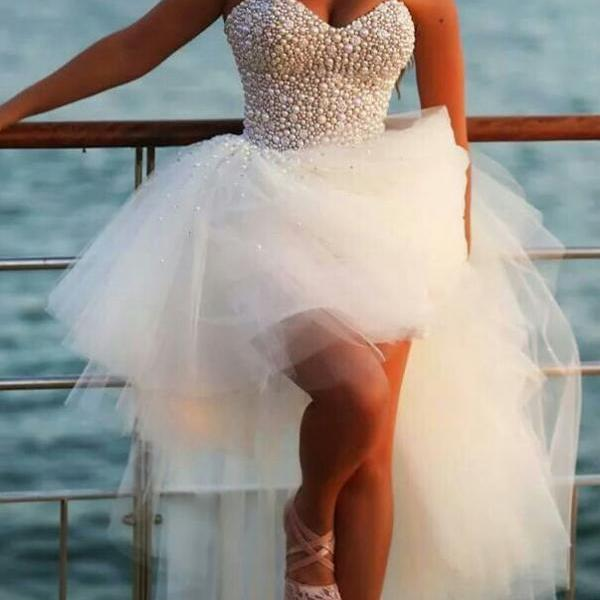 Custom Made Ivory Sweetheart High Low Prom Dresses, Dresses for Prom, Ivory High Low Formal Dresses, Evening Dresses, Formal Dresses